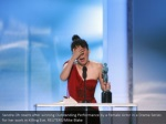 sandra oh reacts after winning outstanding