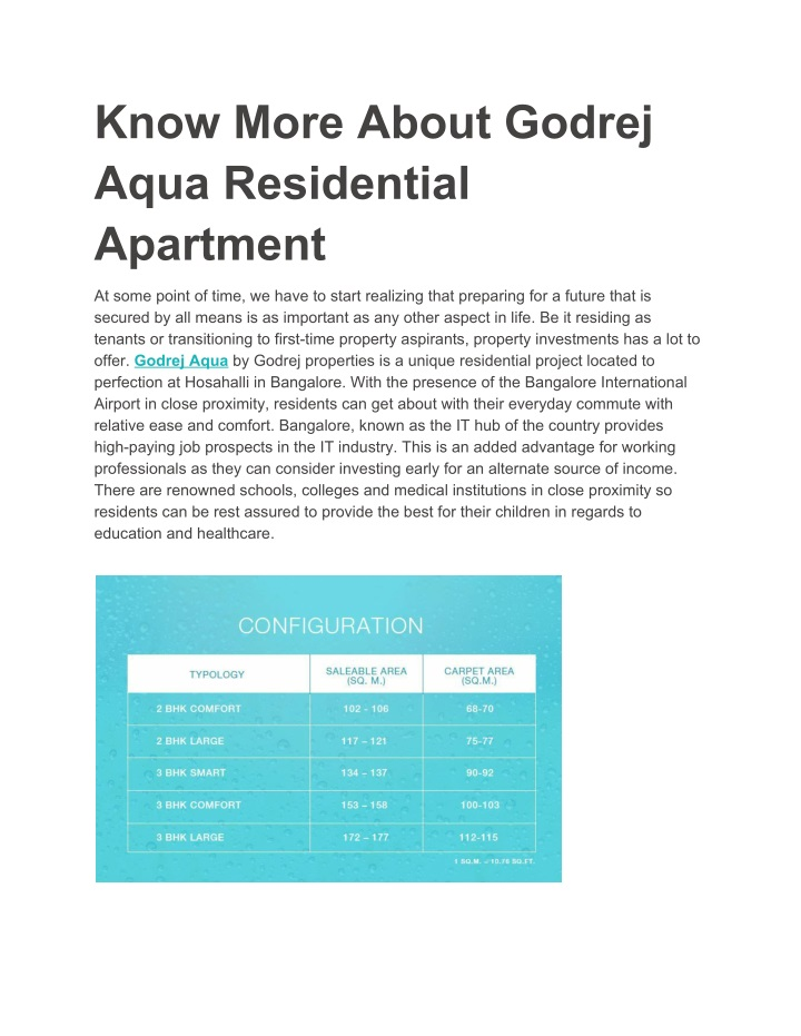 know more about godrej aqua residential apartment n.