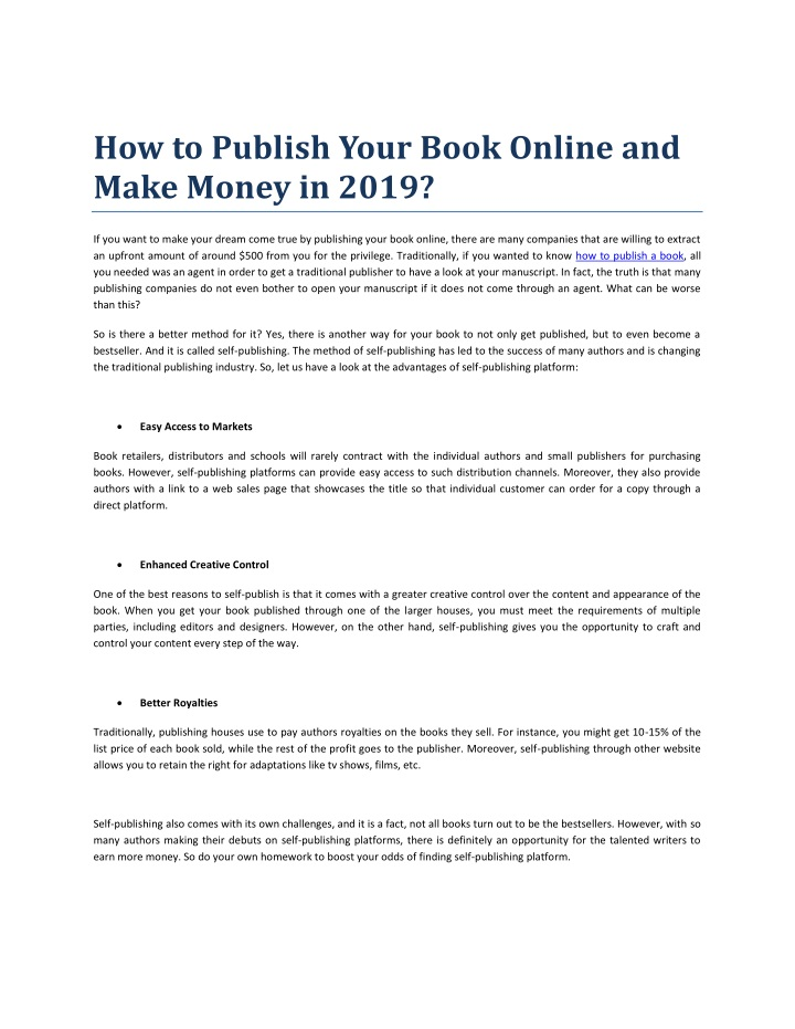 PPT - How to Publish Your Book Online and Make Money in 2019