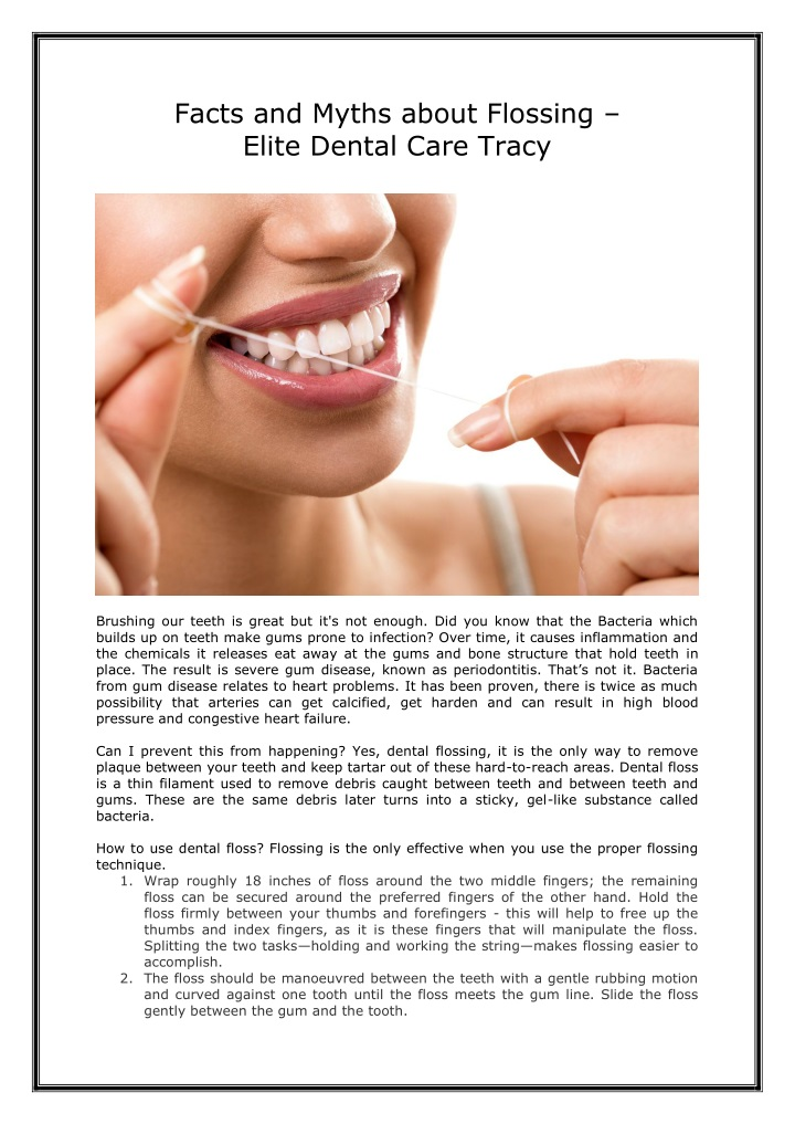 facts and myths about flossing elite dental care n.