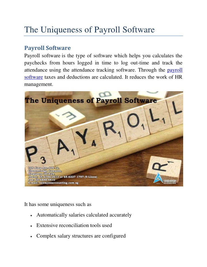 the uniqueness of payroll software n.
