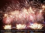 fireworks explode over victoria harbour