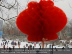 people walk in the snow during spring festival