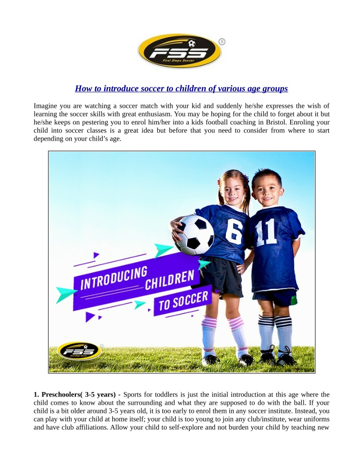 how to introduce soccer to children of various n.
