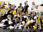 pope francis greet people as he arrives to hold