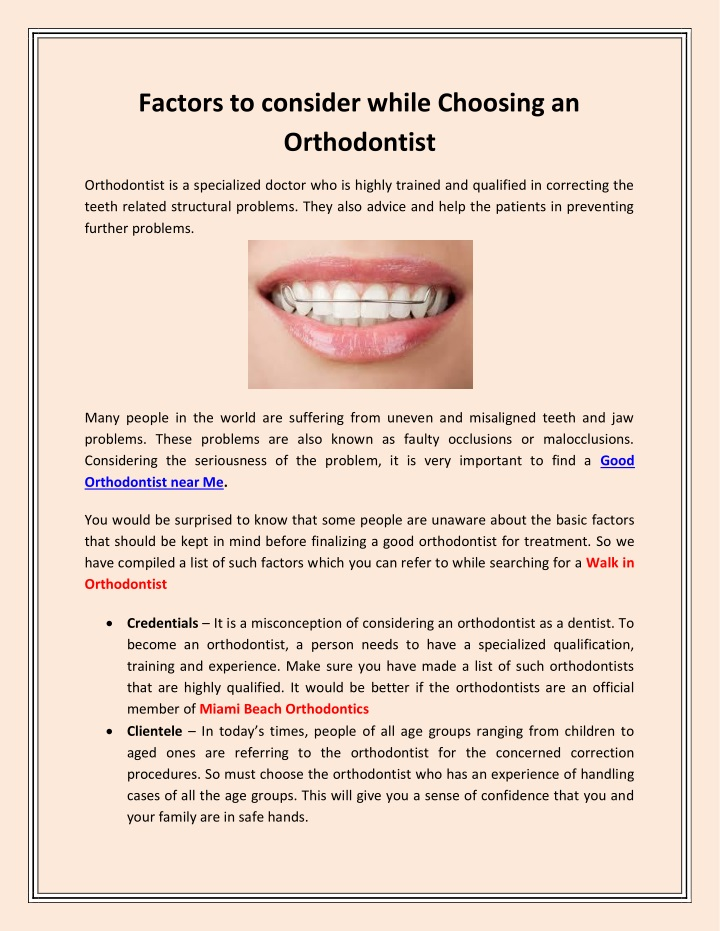 factors to consider while choosing an orthodontist n.