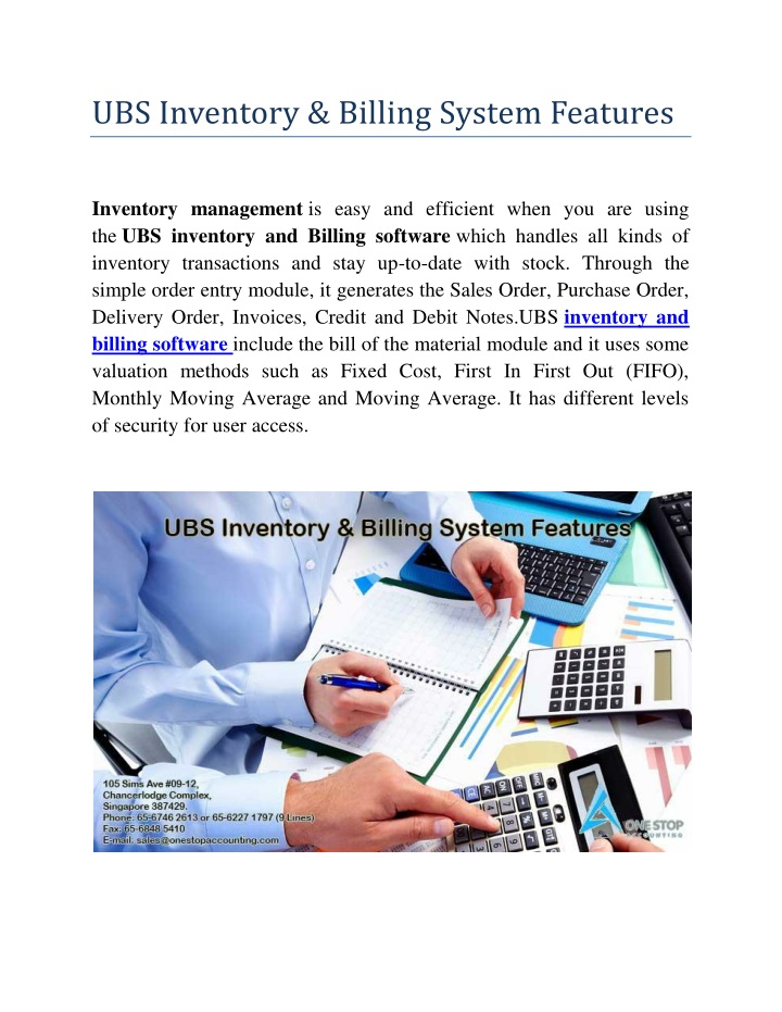 ubs inventory billing system features n.