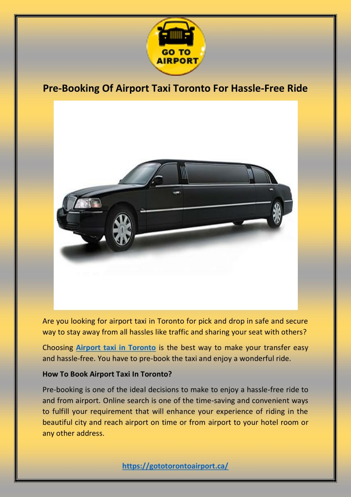 pre booking of airport taxi toronto for hassle n.