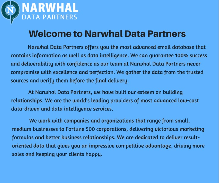 welcome to narwhal data partners n.