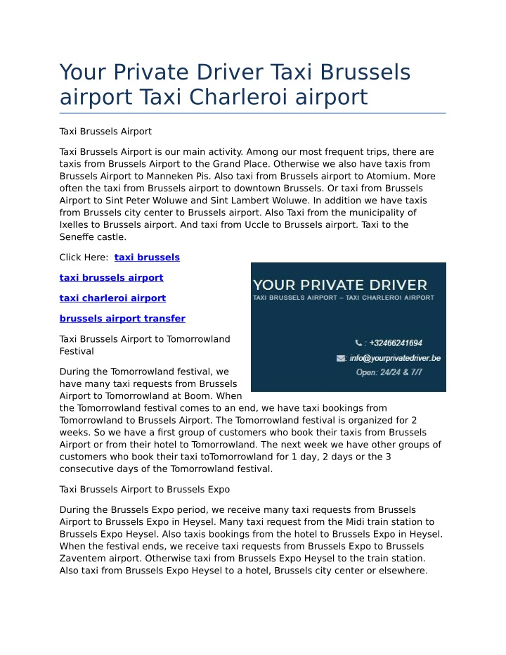 your private driver taxi brussels airport taxi n.