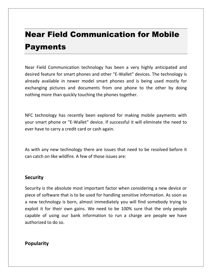 near field communication for mobile payments n.