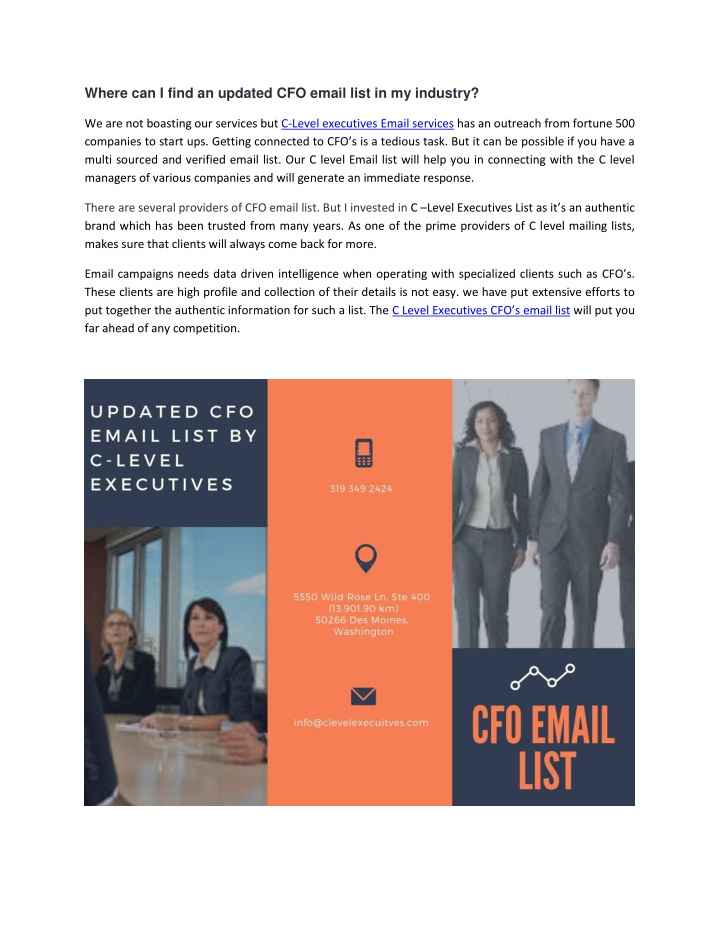 where can i find an updated cfo email list n.