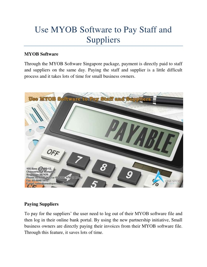 use myob software to pay staff and suppliers n.