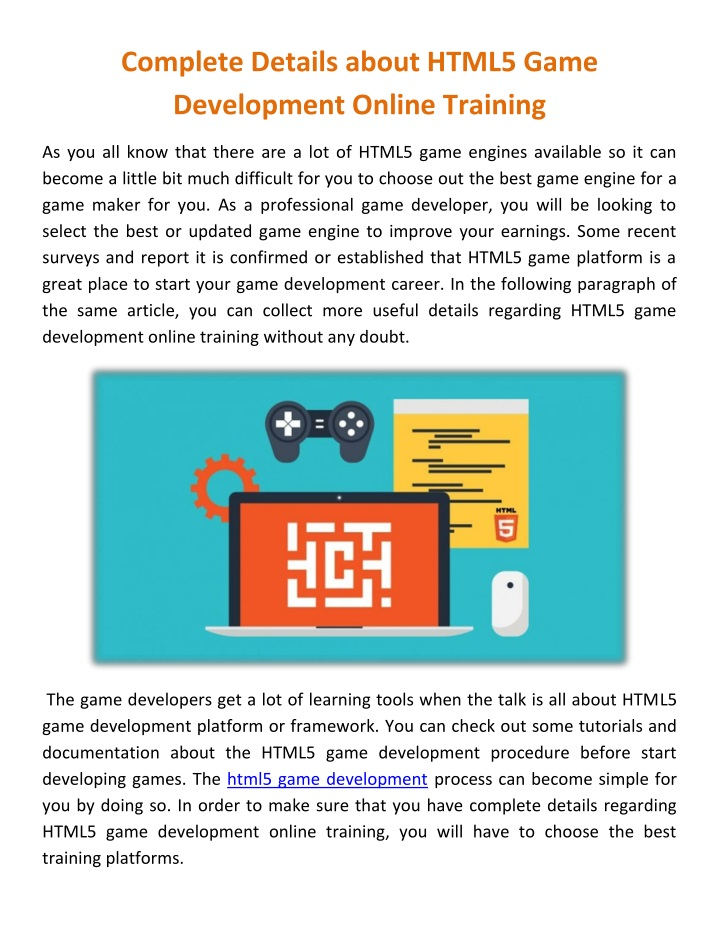complete details about html5 game development n.