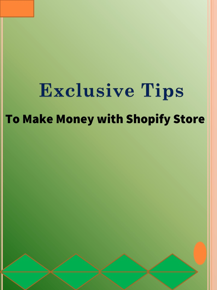 to make money with shopify store n.