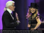 karl lagerfeld presents a trophy to britney