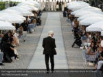 karl lagerfeld walks on the runway during