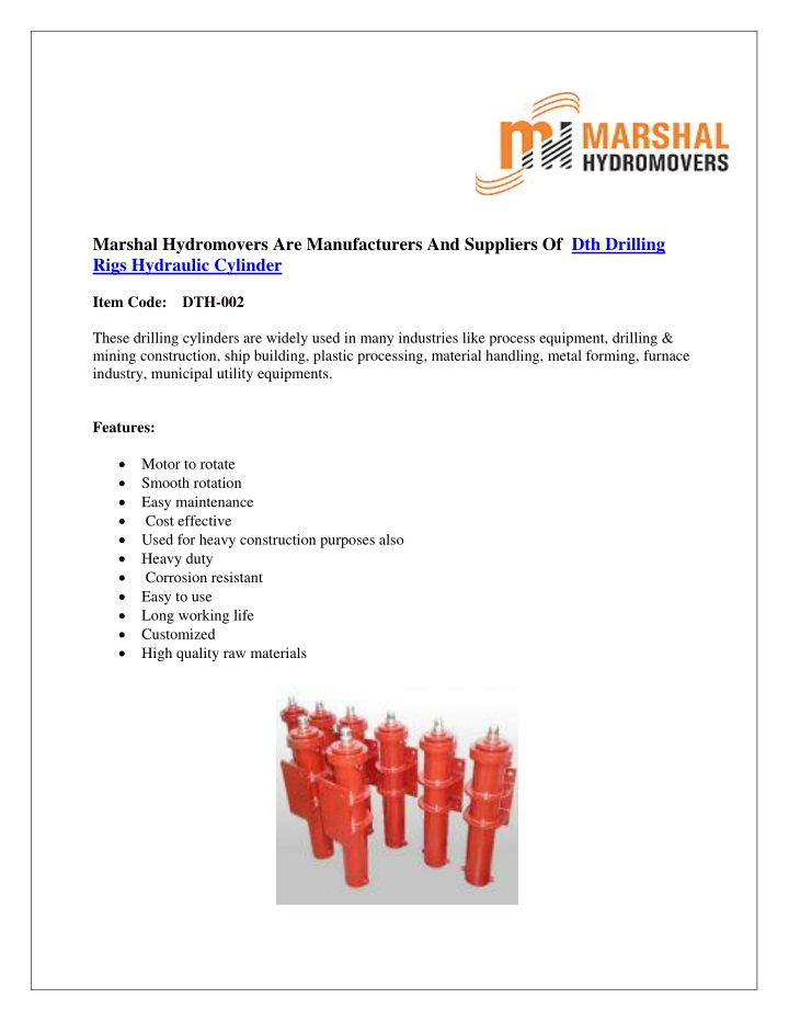 marshal hydromovers are manufacturers n.
