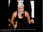 lady gaga accepts the award for best original