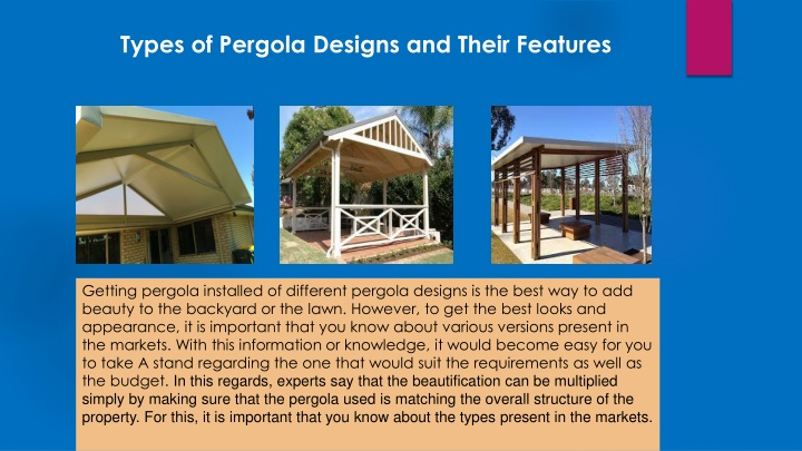 types of pergola designs and their features n.