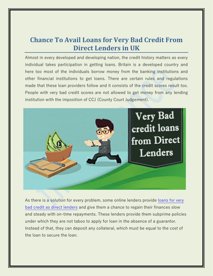 Loans For Really Bad Credit >> Ppt Chance To Avail Loans For Very Bad Credit From Direct