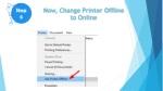 now change printer offline to online
