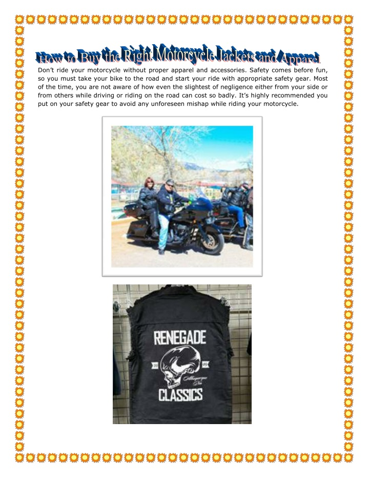 don t ride your motorcycle without proper apparel n.