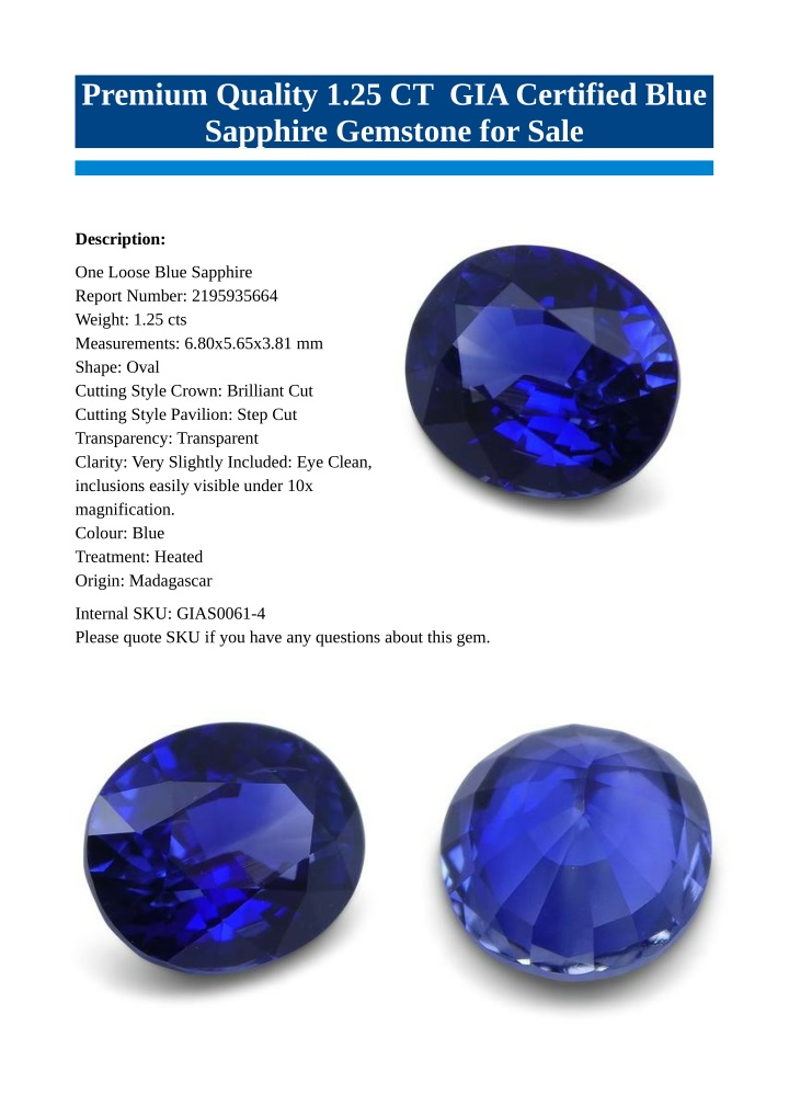 premium quality 1 25 ct gia certified blue n.