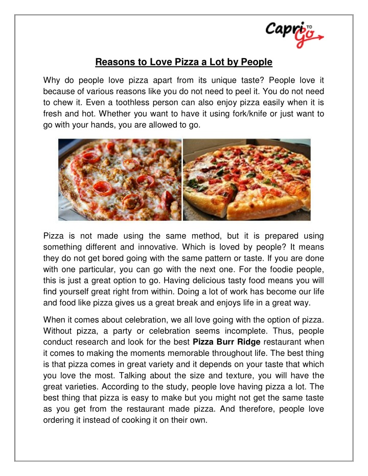 reasons to love pizza a lot by people n.