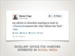 excellent advice for churchesinterested in social