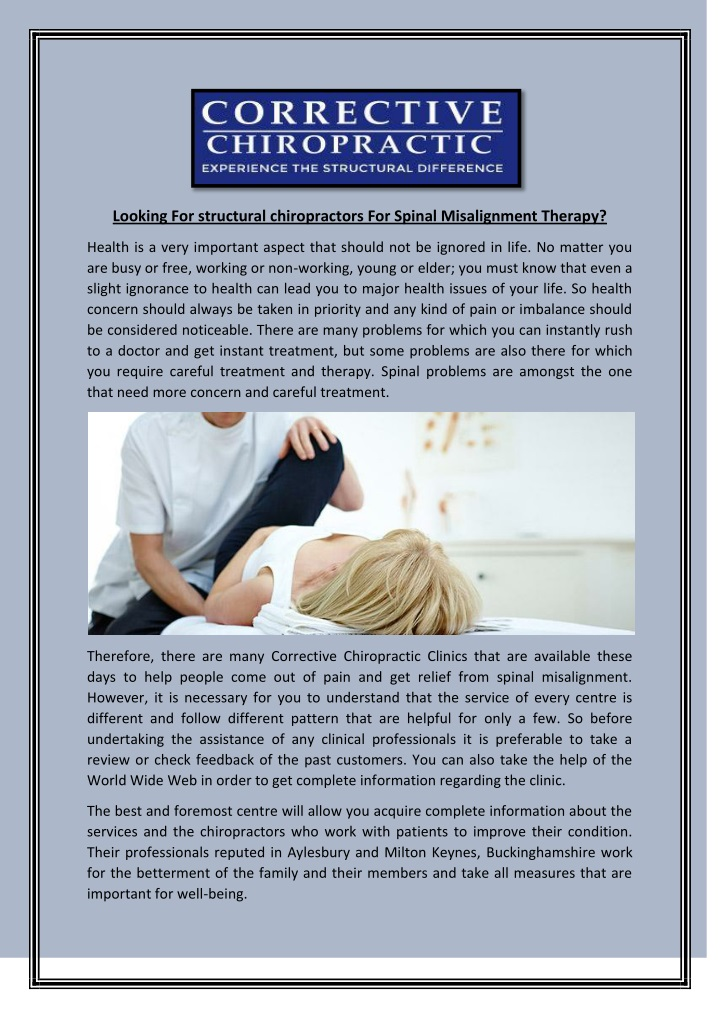looking for structural chiropractors for spinal n.