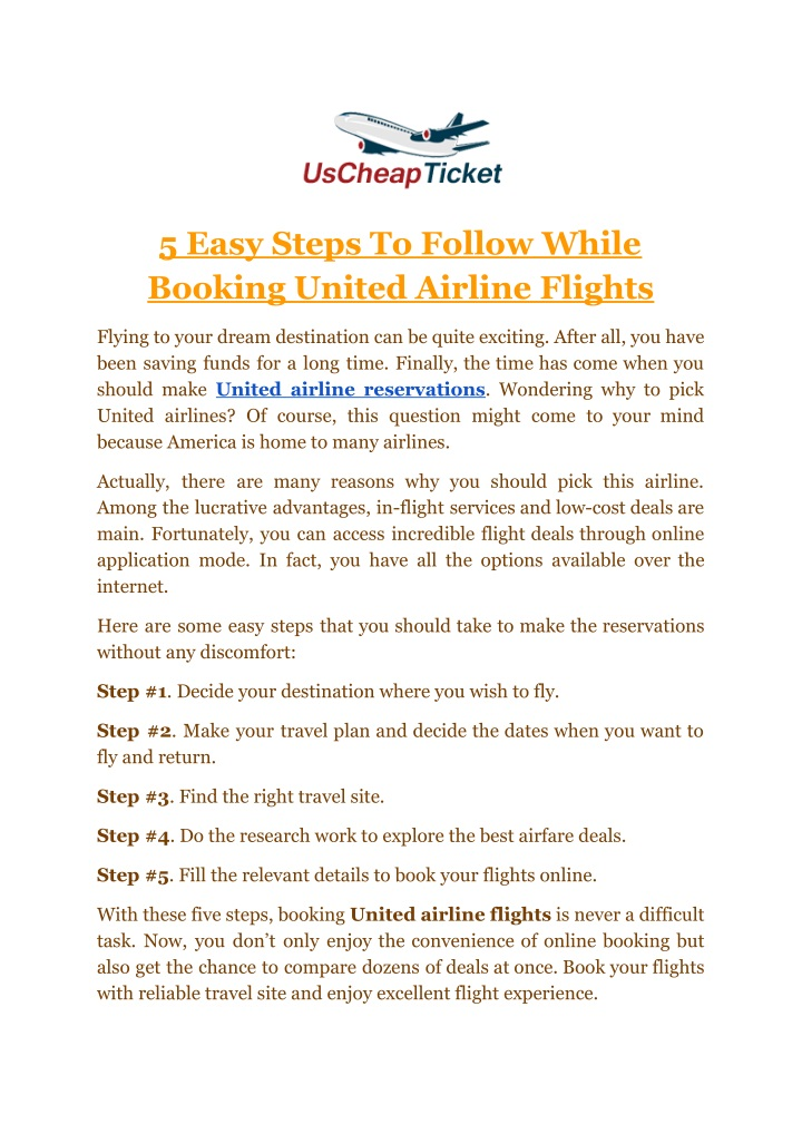 5 easy steps to follow while booking united n.