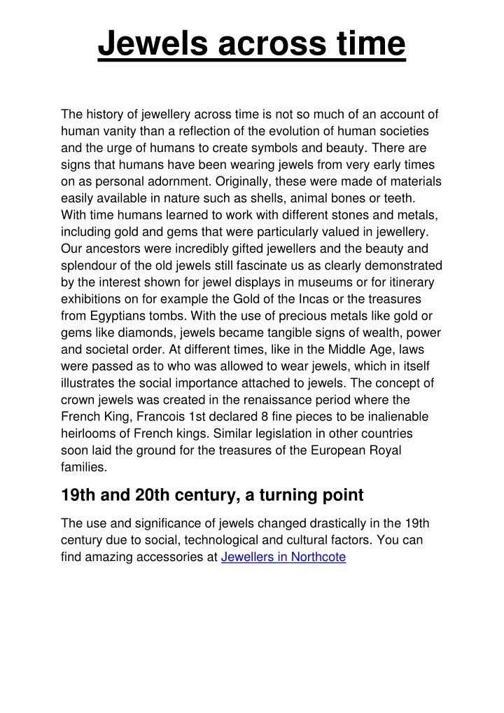 jewels across time the history of jewellery n.