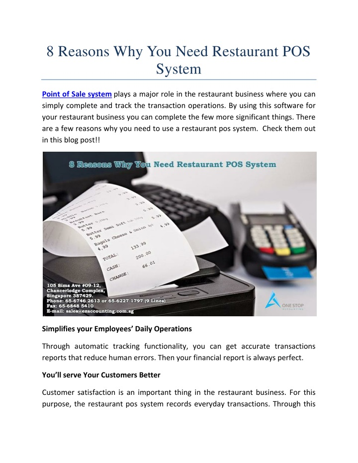 8 reasons why you need restaurant pos system n.