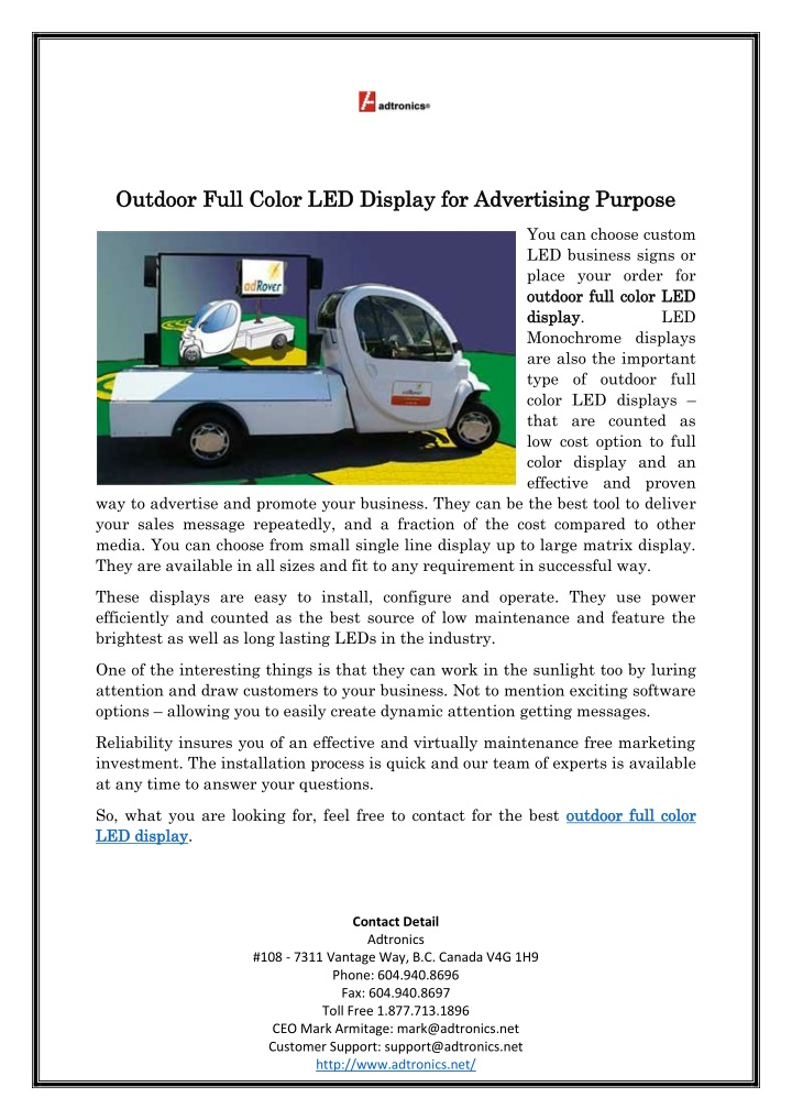 outdoor full color led display for advertising n.