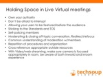 holding space in live virtual meetings