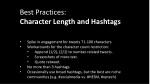 best practices character length and hashtags