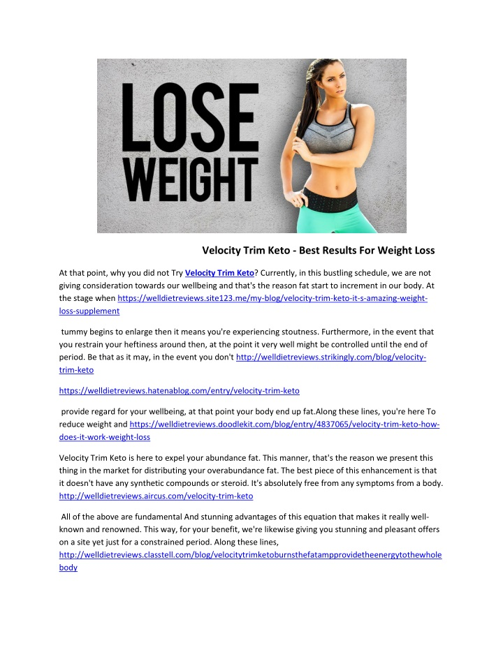 velocity trim keto best results for weight loss n.