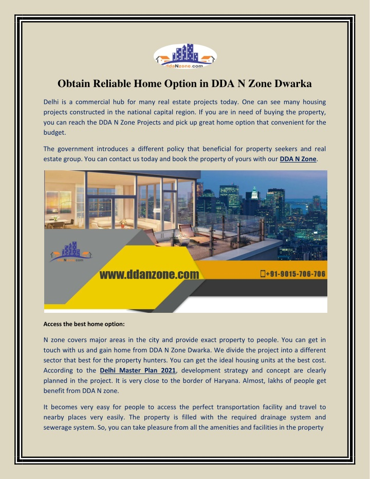 obtain reliable home option in dda n zone dwarka n.