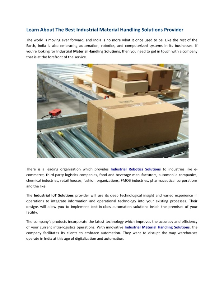 PPT - Learn About The Best Industrial Material Handling