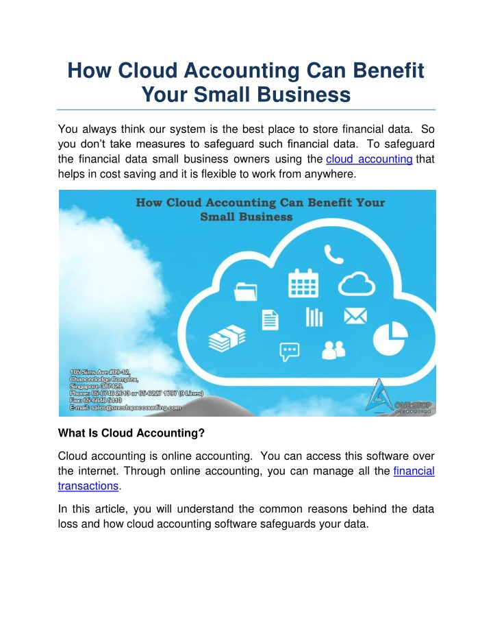 how cloud accounting can benefit your small n.