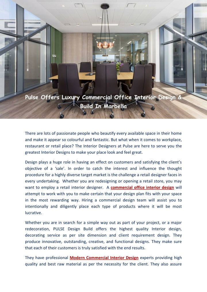 pulse offers luxury commercial office interior n.