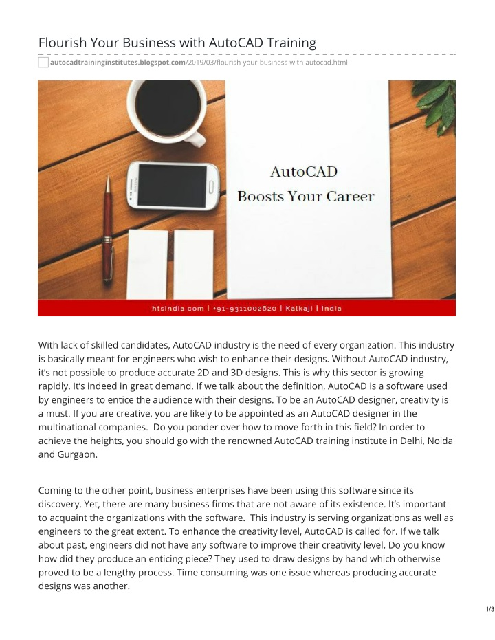 flourish your business with autocad training n.