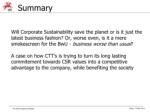 summary will corporate sustainability save