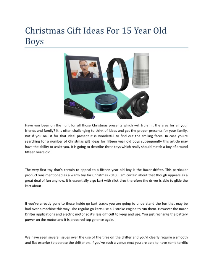 christmas gift ideas for 15 year old boys n.