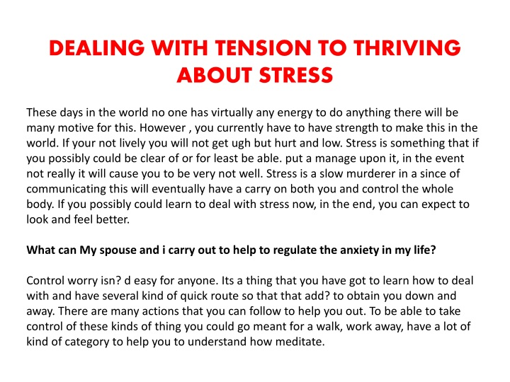 dealing with tension to thriving about stress n.