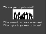 we want you to get involved what issues