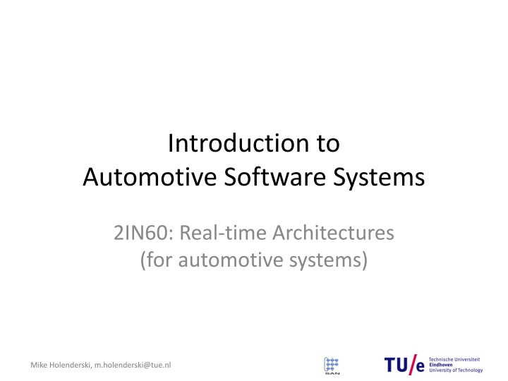introduction to automotive software systems n.