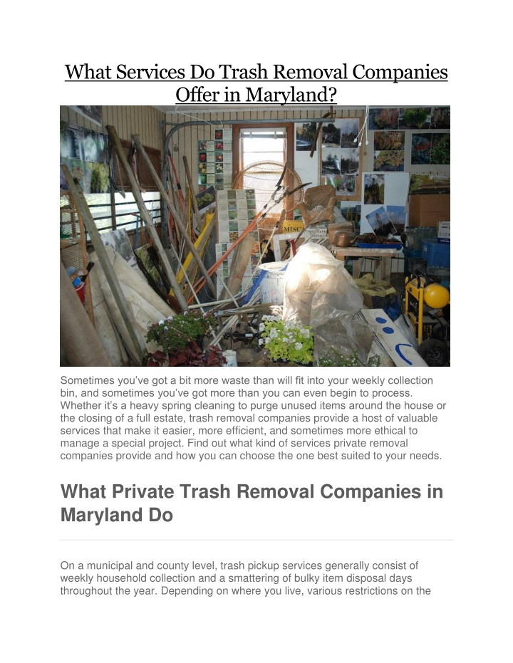what services do trash removal companies offer n.