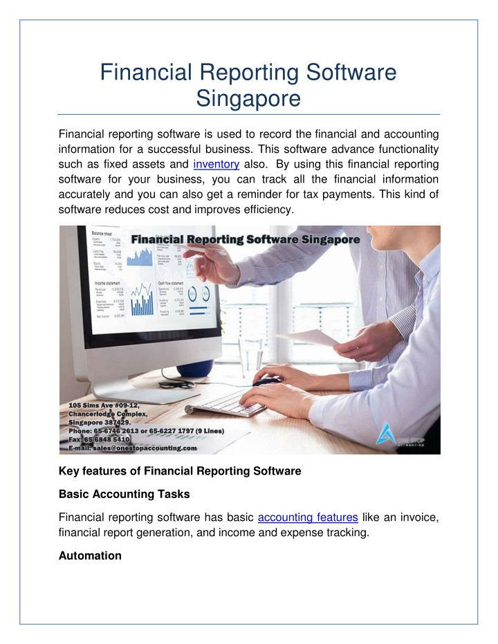 financial reporting software singapore n.